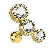 Piersando Tragus Helix Ohr Piercing Cartilage Knorpel Stab Stecker 316 L Chirurgenstahl mit 3 Strass Kristallen Gold