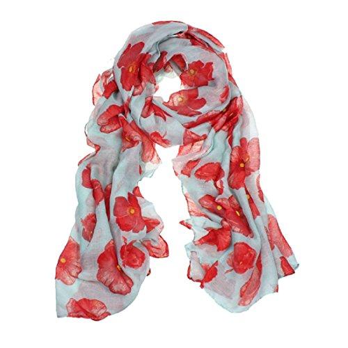 Amlaiworld Femmes Foulard rouge coquelicot fleur Wrap châle, 100cm*180cm (Vert)