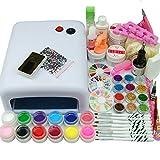 Coscelia Kit de Nail Art 36W Lampe 12 Couleurs Gel UV Ongles Colle Pinceau Cuticule Nail Art Décor Manucure Kits