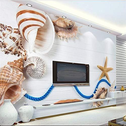 3D frische Muschelschale Seestern weiß Holz TV Hintergrund Wand benutzerdefinierte große grüne Wandtapete Papel de Parede-400X280CM