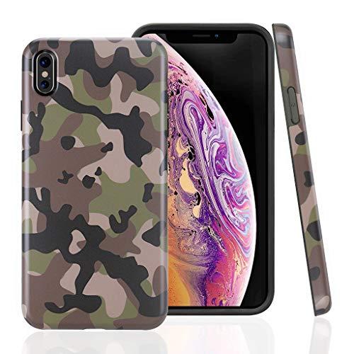 Cujas iPhone XS Max kompatible Hülle Weiche Camouflage TPU Silikon Schutzhülle Blickdicht mit IMD Technologie Camo Militär Muster Case Schutz Handyhülle (iPhone XS Max Grün) -