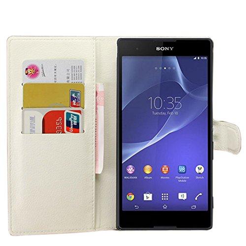 Tasche für Sony Xperia T2 Ultra (6 zoll) Hülle, Ycloud PU Ledertasche Flip Cover Wallet Case Handyhülle mit Stand Function Credit Card Slots Bookstyle Purse Design weiß