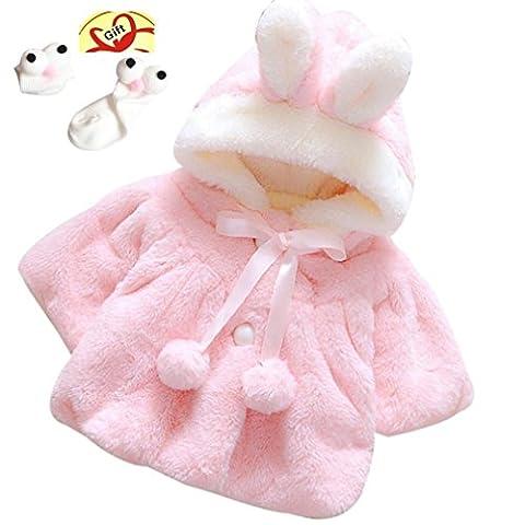 Enfant Bébé Fille 3D Oreilles de Lapin Capuchon Doux Chaud en Coton Veste d