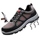 tqgold Damen Herren Sicherheitsschuhe S3 Sportlich Trekking Wanderhalbschuhe Stahlkappe Arbeitsschuhe Hiking Schuhe(Grau,Groß 45)