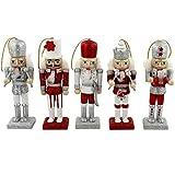 traditionnel en bois de Noël Casse-noisette Soldat Décorations/décorations de Noël–Argent et Red0–12cm–Lot de 5