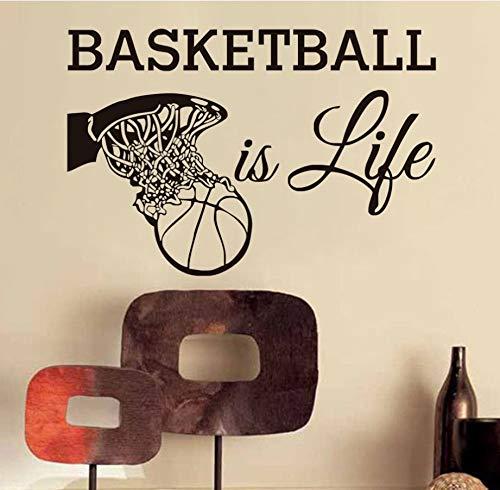 xlei Etiqueta De La Pared El Baloncesto Es Vida Calcomanías De Pared Ventiladores Deportivos Vinilo Removible Decoración para El Hogar Baloncesto Dentro De La Canasta Pegatinas De Pared para Niños