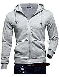 Sweat capuche manteau manche longue pull Jacket veste haut sweater shirt homme garçon hoodie zippe shirt pardessus 4couleur