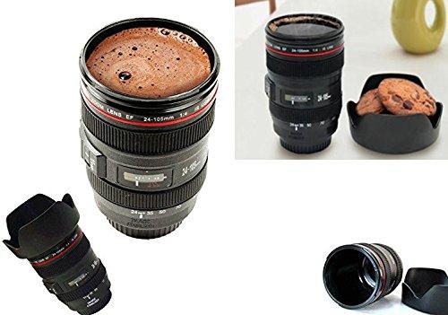 Takestop® tazza per bevande forma di obiettivo macchina fotografica 24-105mm con coperchio porta biscotti cuplens latte cappuccino caffe'