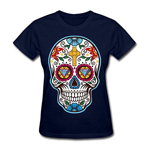 Cleveland Indians Rock (Frauen 'S Big Sugar Skull Mexikanischer Tag der Toten T-Shirt, Dia de los Tee 074, Mädchen damen Kinder, dunkelblau)