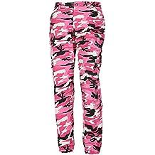 Hibote Pantalones de Camuflaje Girls Pantalón Militar Hip Hop Jogger Dance  Pant 1763b8e1f6c