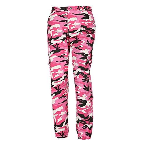 A vita alta Pantaloni per Donna - Camuffare Motivo Sciolto Casuale Pantaloni per Sport Yoga Pilates Jogging e Fitness Rosso