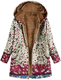 BaZhaHei Abrigo Invierno Mujer Chaqueta Suéter Jersey Mujer Cardigan Mujer Tallas Grandes Outwear Floral Bolsillos con Capucha de Impresión Caliente Sudadera Jersey Mujeres Suelto Prendas Cardigan