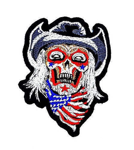 Skull Ghost Devil Flagge USA Hog Outlaw Hot Rod Motorräder Patch Kinder Cute Animal Patch für Heimwerker-Applikation Eisen auf Patch T Shirt Patch Sew Iron on gesticktes Badge Schild Kostüm (Outlaw Cowboy Kostüm)