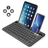 Jelly Comb Bluetooth Tastatur, Dual Mode Bluetooth-Tastatur wiederaufladbar QWERTZ Layout Funktastatur für Tablet, Smartphone, PC, Laptop, Smart TV, Windows, Android, iOS(Schwarz)