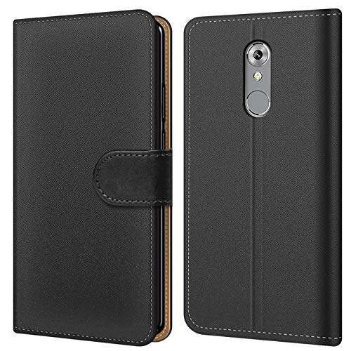 Conie BW49267 Basic Wallet Kompatibel mit ZTE Axon 7 Mini, Booklet PU Leder Hülle Tasche mit Kartenfächer und Aufstellfunktion für Axon 7 Mini Case Schwarz