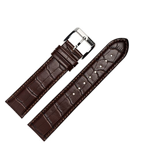 Hugo Boss Uhrenarmband 22mm Leder Braun Kroko - Uhrband 659302196 (Genuine Leather Alligator-prägung)