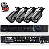 FLOUREON Kit Complet 8CH AHD 1080N DVR CCTV Vidéo Enregistreur de Sécurité avec 4 Caméras 960P 1.3MP 2000 Lignes - P2P/Sortie HDMI/Détection de Mouvement - 1To Disque dur inclus