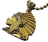 Faux Diamant Mikro vergoldet rot Indianer Kopf Anhänger und Kugelkette