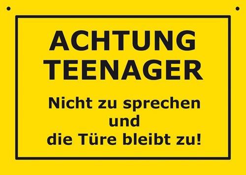 Postkarte Kunststoff +++ VERBOTENE SCHILDER von modern times +++ ACHTUNG TEENAGER +++ ARTCONCEPT VERBOTENE SCHILDER
