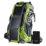 Hiking Backpack Removable Frame Pack with 10W Foldable Solar Phone Charger, 10000mAH Battery Pack, 2L Water Bladder, Rain Cover for Camping Mountaineering Climbing Voyage Outdoor Sports