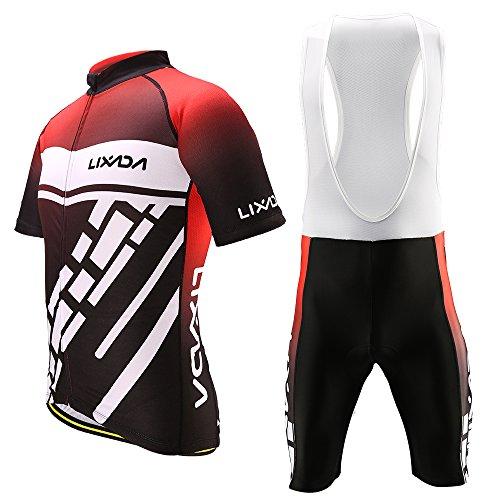Lixada Radsportbekleidung Set Schnell Trocknend Kurzarm Fahrrad Jersey Shirt Tops 3D Kissen Gepolsterte Reithose für Herren