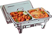 DOUBLE DELUXE CHAFING DISH SET FOOD WARMER BUFFET 2 FOOD PANS FUEL GEL TWIN NEW