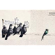 Banksy protestando pájaros Póster Impresión en todos los tamaños, papel, A6(Sample)
