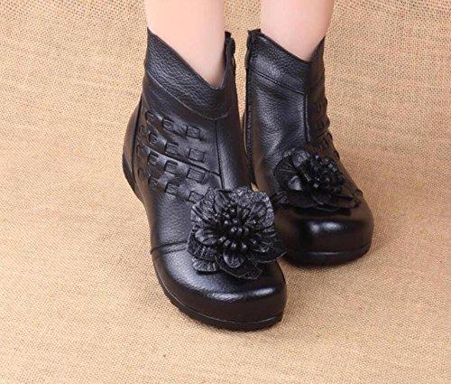 HGTYU-Mia madre il panno privo di cotone Scarpe Stivali caldi Soft base piana di vecchi fiori in pelle Black