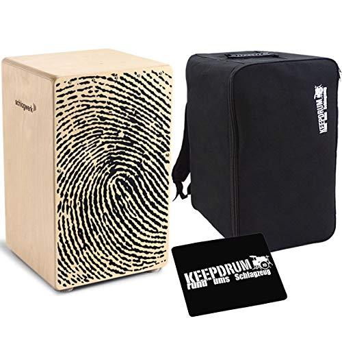 Schlagwerk CP 107 X-One Cajon Fingerprint + keepdrum Rucksack-Tasche + Sitzpad
