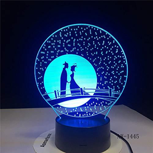 3D Nachtlicht Einzigartige Geschenke Romantische Liebe Märchen 3D Led Nachtlicht 7 Farbwechsel Neuheit Tischlampe Wohnkultur Nachttischlampe Led Lampe Aw-1445 (1445 Led-lampe)