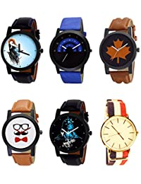 NIKOLA Brand New Royal Mahadev Beard Style Black Blue And Brown Color 6 Watch Combo (B22-B47-B34-B53-B23-B50)...