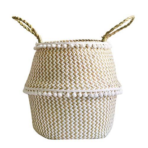 et Faltbarer Gewebter Wäschekorb Handgemachte Natürliche Blumentopf Pflanzgefäß Strohkorb Spielzeug Lagerung Veranstalter Container Wohnkultur Size L (Spitze) ()