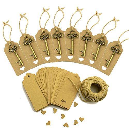 50 Stück Hochzeit Schlüssel Flaschenöffner Braun Kraftpapier Geschenk Tags Rechteck Tags mit 98 Fuß Natur Jute Twine (Bronze) -