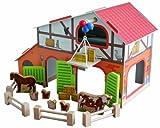 roba Bauernhof 'Farm', bedrucktes Holzspielzeug, Set mit Scheune, Stall, Heuboden, Zaun & 6 Bauernhoftieren, steckbar