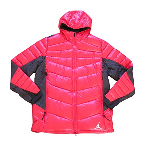 Nike Air Jordan hyperply Piumino Invernale con Cappuccio Cappotto Parka 623485, 695 red black, XL
