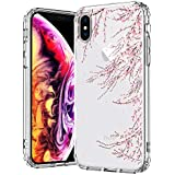 IPhone X Case, IPhone X Clear Case, MOSNOVO Cherry Blossom Floral Flower Printed Clear Design Transparent Plastic Hard Slim Back Case With TPU Bumper Gel Protective Cover For Apple IPhone X