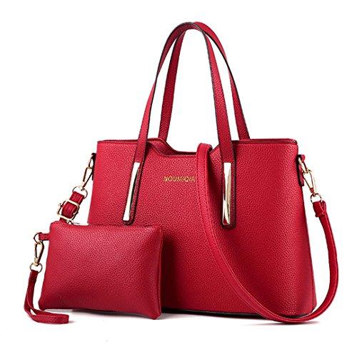 Wewod 2 Piezas PU de cuero Mujer Moda Bolsos de Mano Cuero Bolsa y Carteras Bandolera Tote Bag Monedero Conjunto 34 x 23 x 12 cm (L*H*W) (Rojo)