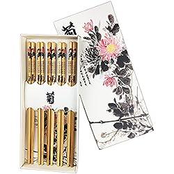 txian 5pares palillos de bambú Natural chino estilo con caja Chrysanthemum