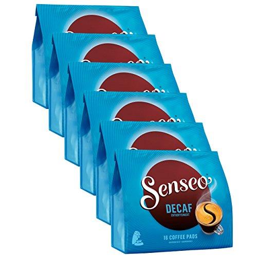 Senseo Kaffeepads Entkoffeiniert / Decaf, Reiches Aroma, Intensiv & Ausgewogen, Kaffee, neues Design, 6er Pack, 6 x 16 Pads