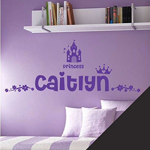 Personalisierte Namen Mädchen Art Wand Aufkleber-Princess Castle Krone Floral Motiv-[nur Nachricht uns mit der Name.], schwarz, M 580 x 150 mm