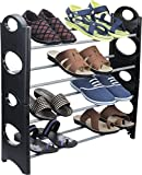 #9: Ebee Easy To Assemble & Light Weight Foldable 4 Shelves Shoe Rack