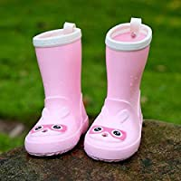 LYXFZW,Rain Boots For Kids,girls,Rubber Wellingtons Boots Water Shoes With Safety Reflective Strips Waterproof Non-Slip Boy Children Toddler Baby Lovely Pink Rabbit Easy To Wipe For Outdoor School Gar