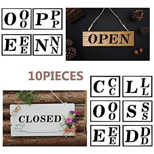 Volwco 10 Wiederverwendbare Schablonen zum Bemalen von Holzschildern, für Wand-, Fenster und Tafeln (Vertikale Zeichen Zu öffnen)