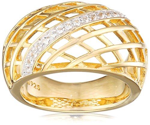 caï women Damen-Ring 925 Silber rhodiniert gelb vergoldet Topas weiß 56 (17.8) C1796R/90/93/56