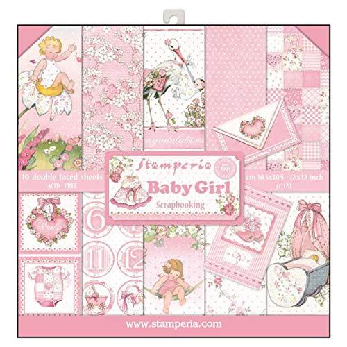 STAMPERIA SBBL41 Papierblock 10 Blätter doppelseitig Baby Girl, Papier, Mehrfarbig, 30.5 x 30.5 (12