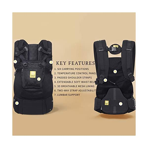 LÍLLÉbaby  Complete Airflow 6-in-1 Baby Carrier, Black Lillebaby Made from breathable mesh fabric to help keep parent and child cool and comfortable and with 6 carrying positions - Foetal, infant inward, outward, toddler inward, hip, back - The only carrier you'll ever need! Suitable from 3.2- 20kg (birth to approx. 4 years old), providing extended comfortable use for parent and child with no additional infant support required for new-borns - the ergonomic adjustable seat is acknowledged as 'hip-healthy' by the International Hip Dysplasia Institute Unique spacious head support with elasticated straps - soothes infants with gentle lulling motion and provides excellent support as children grow 3