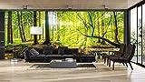 Vinyl Wand Frühlingswald | Fototapete für Wände | Wandbild | Dekoratives Vinyl | Verschiedene Maße 150x100 cm | Dekor Esszimmer, Wohnzimmer, Zimmer .| Elegantes Design