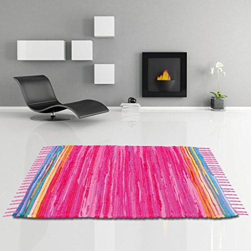 Flickenteppich handgewebter Teppich aus Baumwolle, stylischer und strapazierfähiger Fleckerlteppich in vielen verschiedenen modischen Ausführungen erhältlich (60 x 90cm / pink - rosa)
