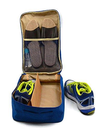 Geräumige Premium Schuhtasche – Schuhbeutel zur Aufbewahrung von Schuhe in Koffer, Reisetasche & Rucksack, als Sporttasche/Handgepäck mit Reißverschluss, Tragegriff, Kofferbefestigung (Blau)