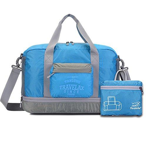 (Faltbare Reise Seesack DRFLY Lagerung Trage Gepäcktasche für Sport Gym Leichte Wasserdichte Nylon (Blau, L))